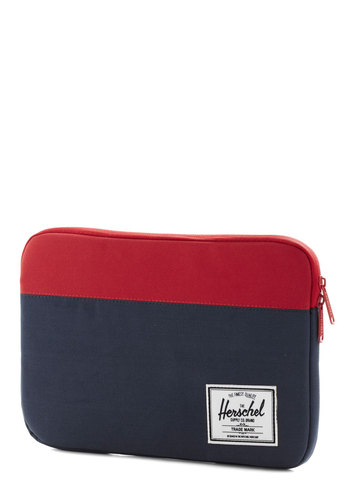 Places to Be Laptop Sleeve - 11in by Herschel Supply Co. - Woven, Blue, Red, Work, Colorblocking, Scholastic/Collegiate