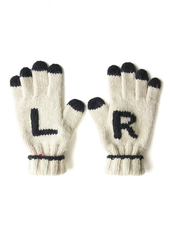 To Nav and to Hold Gloves by Kling - White, Black, Quirky, Fall, Winter, International Designer, Novelty Print, Knit