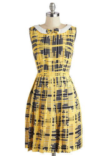 Director's Cute Dress by Bea & Dot - Yellow, Black, Print, Bows, Peter Pan Collar, Pockets, A-line, Sleeveless, Better, Collared, Private Label, White, Exclusives, Woven, Pleats, Work, Show On Featured Sale, Mid-length