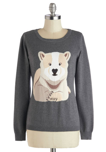 Cub On Over Sweater by Sugarhill Boutique - Grey, Tan / Cream, Print with Animals, Long Sleeve, Better, International Designer, Mid-length, Cotton, Knit, Grey, Long Sleeve, Holiday