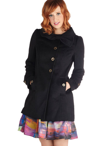 Lovely in Liverpool Coat by Tulle Clothing - Black, Solid, Buttons, Pockets, Long Sleeve, Long, Bows, 3, Black