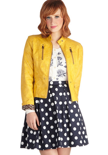 Visibility Oak Jacket in Marigold - Yellow, Solid, Pockets, Long Sleeve, Good, Short, Exposed zipper, Casual, Urban, Faux Leather, Variation, Statement, Yellow