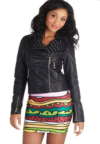 I Love Amp Jacket - Short, Faux Leather, 2, Studs, Urban, Long Sleeve, Exposed zipper, Pockets, Winter, Fall, Black, Black, Top Rated