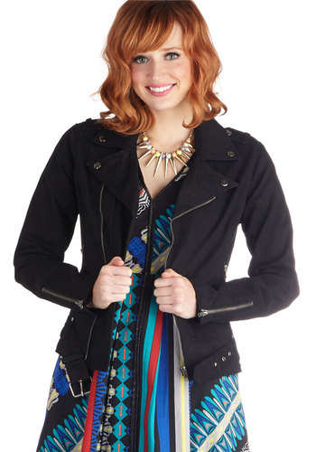 Indie Rock Star Jacket - 1, Black, Solid, Studs, Belted, Urban, Long Sleeve, Buckles, Pockets, Cotton, Mid-length, Exposed zipper, Winter, Fall, Exclusives, Military, Black