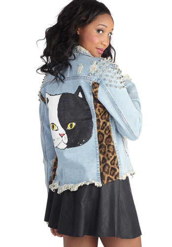 Wowed Card Jacket - Blue, Buttons, Pockets, Studs, Casual, Urban, Long Sleeve, Mid-length, Cotton, 1, Animal Print, Novelty Print, Statement, Quirky, Denim, Cats, Fall