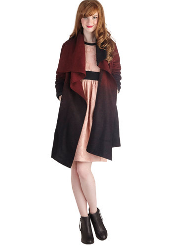Day to Dusk Coat by BB Dakota - Ombre, Casual, Long Sleeve, Knit, 2, Pockets, Fall, Multi, Multi, Long