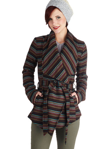 State of the Art Show Jacket in Stripes by Jack by BB Dakota - Multi, Stripes, Belted, Casual, Long Sleeve, Long, 2, Pockets, Woven, Variation, Fall, Multi, Gifts Sale, Winter