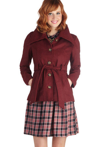 Rustic Vineyard Jacket by Jack by BB Dakota - Purple, Solid, Buttons, Pockets, Belted, Long Sleeve, Collared, 2, Woven, Mid-length, Fall, Work, Red
