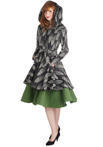 Soaring Comets Coat by Effie's Heart - Black, Print, Belted, Hoodie, Long Sleeve, Long, Knit, 3, Pockets, Multi
