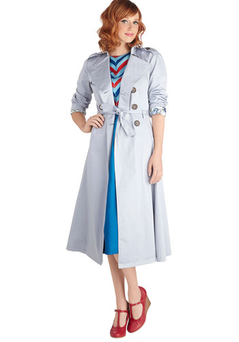 Mist Congeniality Coat - Cotton, Long, Blue, Solid, Buttons, Belted, Long Sleeve, 2, Epaulets, Pockets, Work, Casual, Pastel, Fall, Blue, Top Rated