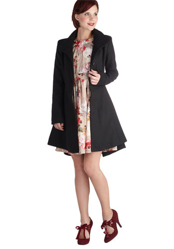 Baker Street Style Coat by BB Dakota - Long, Black, Solid, Buttons, Belted, Long Sleeve, 3, Winter, Basic, Fall, Black