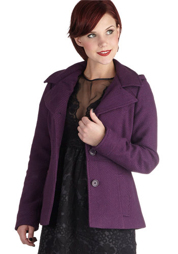 Grape to See You Jacket by Jack by BB Dakota - Mid-length, 3, Purple, Solid, Buttons, Pockets, Casual, Scholastic/Collegiate, Long Sleeve, Fall, Purple