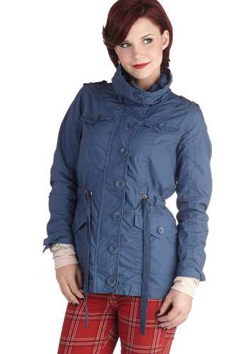 Minot Beach Memories Jacket by Tulle Clothing - Blue, Solid, Buttons, Pockets, Long Sleeve, Mid-length, Woven, Cotton, 2, Casual, Fall, Blue
