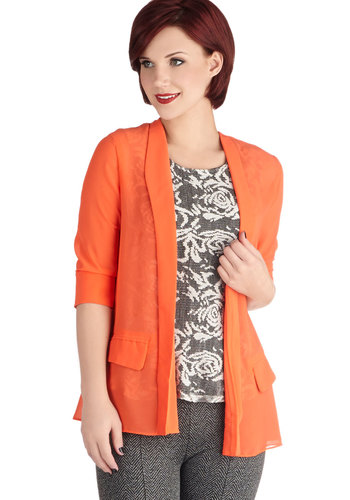 Creative Department Blazer - Sheer, Mid-length, Coral, Solid, 3/4 Sleeve, 1, Pockets, Work, Daytime Party, Woven, Orange