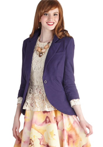 Fine and Sandy Blazer in Violet - Cotton, Mid-length, Blue, Solid, Buttons, Work, 3/4 Sleeve, Variation, Basic, 1, Fall, Menswear Inspired, Purple, Spring