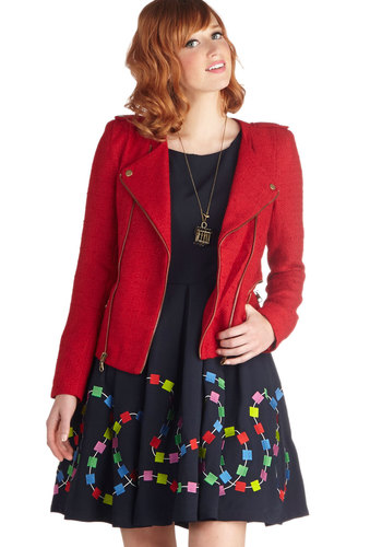 Figure It Outside Jacket - Short, Red, Solid, Exposed zipper, Long Sleeve, 2, Epaulets, Pockets, Urban, Fall, Military