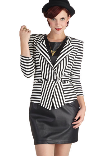 Intern of Events Blazer - Stripes, 3/4 Sleeve, Mid-length, 1, Black, Pockets, Party, Work, Vintage Inspired, 80s, Multi