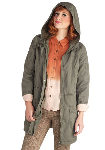 Lily Patch Trail Coat - Cotton, Faux Fur, Woven, Green, Solid, Buttons, Pockets, Long Sleeve, 2, Long, Trim, Casual, Urban, 90s, Fall, Menswear Inspired, Green