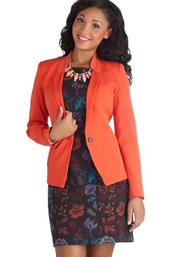 Takes Two to Tangerine Blazer - Orange, Solid, Buttons, Work, Menswear Inspired, Long Sleeve, Good, Mid-length, Woven, 1, Pockets, Fall, Orange