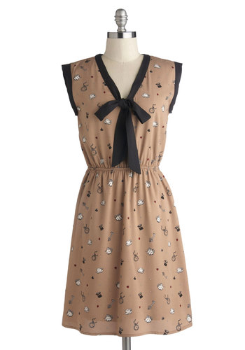 Time for Tea Dress by Yumi - Mid-length, Woven, Tan, Red, Black, White, Novelty Print, Trim, Tie Neck, Casual, A-line, Sleeveless, Better, V Neck
