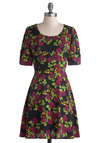 Brightest Blossom Dress by Mink Pink - Mid-length, Chiffon, Sheer, Woven, Black, Floral, A-line, Short Sleeves, Better, Scoop, Exposed zipper, Red, Green, Pink, Casual