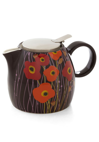Queen of Poppy Teapot - Purple, Red, Orange, Floral, Vintage Inspired, Mod, Mid-Century, Good