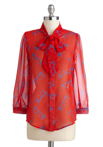 Lash Before My Eyes Top in Frames - Sheer, Woven, Chiffon, Red, Blue, Novelty Print, Tie Neck, Work, 3/4 Sleeve, Exclusives, Red, Long Sleeve, Mid-length