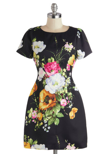 Vase Time Dress - Floral, Short, Satin, Woven, Black, Multi, Party, Sheath / Shift, Short Sleeves, Better, Scoop, Wedding, Cocktail