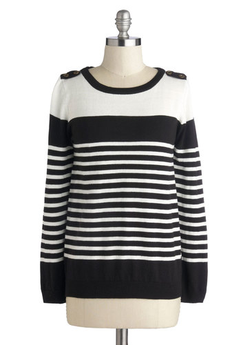 Downtown Stroll Sweater - Knit, Black, White, Stripes, Long Sleeve, Epaulets, Good, Casual, Black, Long Sleeve, Mid-length