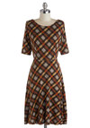 Academic Fellowship Dress - Long, Knit, Brown, Tan / Cream, Plaid, Work, A-line, Short Sleeves, Better, Scoop, Casual, Scholastic/Collegiate, Fall