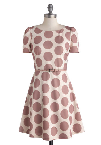 Desk Defying Dress - Mid-length, Knit, Purple, Tan / Cream, Polka Dots, Belted, Party, A-line, Short Sleeves, Better
