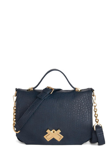X Marks the Spotlight Bag by Deux Lux - Blue, Gold, Solid, Best, Faux Leather, Work