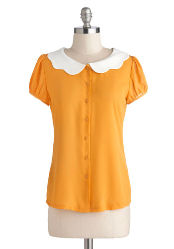 Backyard Betty Top in Sunshine by Myrtlewood - Sheer, Woven, Chiffon, Yellow, Solid, Buttons, Peter Pan Collar, Scallops, Work, Vintage Inspired, Short Sleeves, Mid-length, Exclusives, White, Daytime Party, 40s, 50s, 60s, Button Down, Variation, Private Label