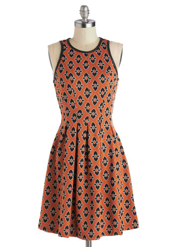Trivia Tournament Dress - Mid-length, Knit, Orange, Black, Print, Casual, A-line, Racerback, Good, Crew, Pleats, Daytime Party, Halloween, Top Rated