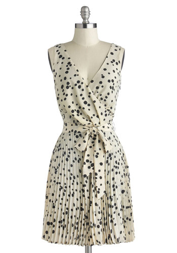 Fun Hundred Percent Dress - Mid-length, Woven, Black, Polka Dots, Pleats, Belted, Party, Wrap, Sleeveless, Better, V Neck, Cream, Cocktail