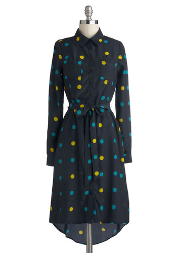 Podcast Producer Dress - Woven, Mid-length, Blue, Yellow, Polka Dots, Buttons, Pockets, Belted, Casual, Shirt Dress, Long Sleeve, Good, Collared, Work, Fall, Winter