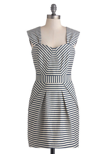 Weekday So Wonderful Dress by Pink Martini - Blue, White, Stripes, Shift, Better, Mid-length, Cotton, Knit, Pockets, Work, Sweetheart, Nautical, Casual