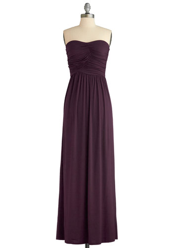 Always and For Evergreen Dress in Blackberry - Purple, Solid, Casual, Minimal, Maxi, Strapless, Good, Sweetheart, Jersey, Knit, Ruching, Variation, Long, Beach/Resort, Cover-up