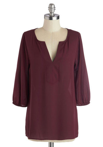 Consultant with Character Top - Red, Solid, Work, 3/4 Sleeve, Better, Mid-length, Sheer, Woven, Chiffon, Minimal, Top Rated, Red, 3/4 Sleeve