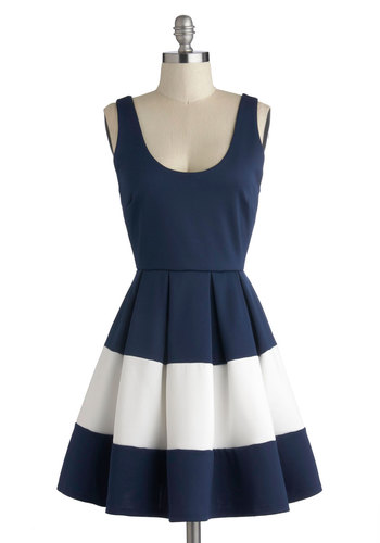 Riverside Stroll Dress - Mid-length, Knit, Blue, White, Exposed zipper, Pleats, Party, Fit & Flare, Tank top (2 thick straps), Good, Scoop, Cocktail, Nautical, Colorblocking