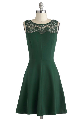 Conifer What It's Worth Dress - Knit, Sheer, Green, Solid, Lace, A-line, Sleeveless, Better, Work, Party, Mid-length