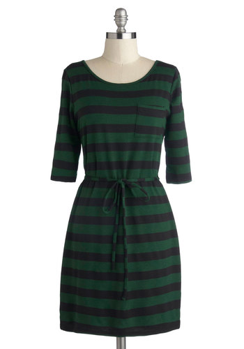 Brewpub Brilliant Dress - Green, Stripes, Casual, 3/4 Sleeve, Good, Scoop, Mid-length, Knit, Black, Pockets, Belted, Shift, Basic, Fall