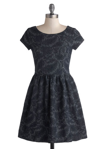 Just Stunning Dress in Navy - Short, Cotton, Woven, Blue, Paisley, A-line, Better, Scoop, Variation, Casual, Short Sleeves, Winter