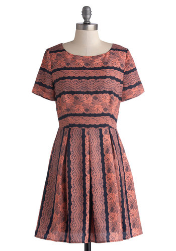 Feminine with the New Dress in Coral - Mid-length, Knit, Pink, Blue, Stripes, Lace, Pleats, Party, A-line, Short Sleeves, Good, Scoop, Variation