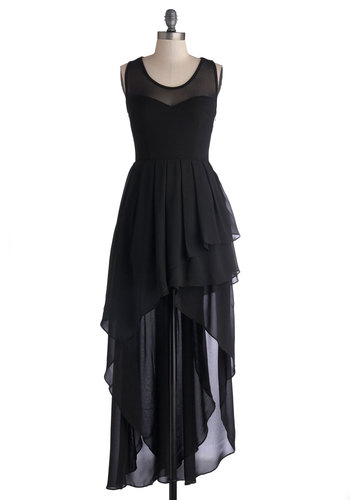Dramatic Dance Debut Dress in Black - Sheer, Knit, Woven, Short, Black, Solid, Ruffles, Tiered, Cocktail, High-Low Hem, Racerback, Better, Sweetheart, Top Rated