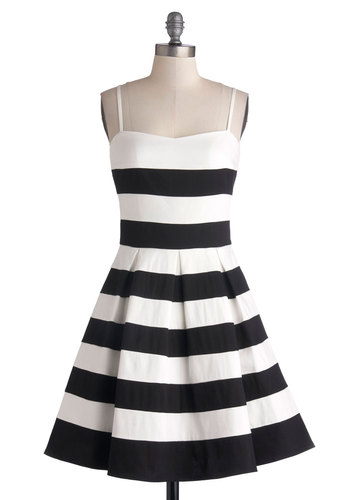 Rooftop Brunch Dress - Mid-length, Black, White, Stripes, Pleats, Fit & Flare, Spaghetti Straps, Better, Sweetheart, Daytime Party