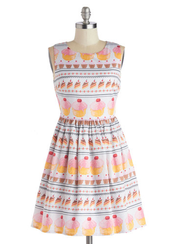 My Sweet Art Dress by Bea & Dot - Woven, Short, Novelty Print, A-line, Sleeveless, Better, Multi, Yellow, Pink, White, Daytime Party, Quirky, Cotton, Exclusives, Private Label, Casual, Crew, Top Rated