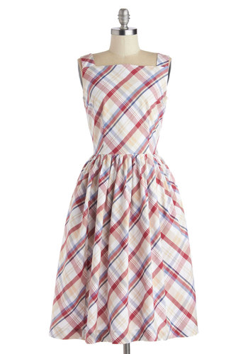 Remarkable Without a Cause Dress in Plaid by Myrtlewood - Cotton, Woven, Red, Blue, Tan / Cream, Plaid, Pockets, Casual, A-line, Sleeveless, Better, Multi, White, Daytime Party, Vintage Inspired, 50s, Variation, Exclusives, Private Label, Long