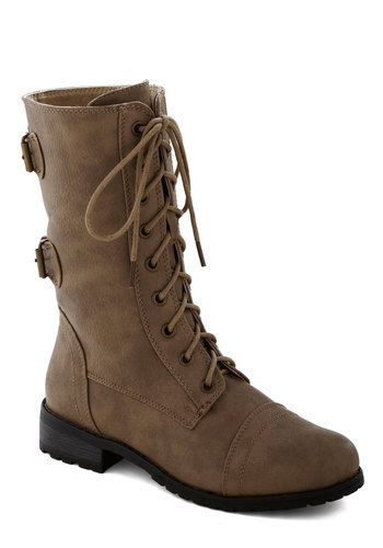 You Tread It Boot in Taupe - Low, Faux Leather, Tan, Buckles, Good, Lace Up, Solid, Casual, Steampunk, Variation, Fall, Gifts Sale