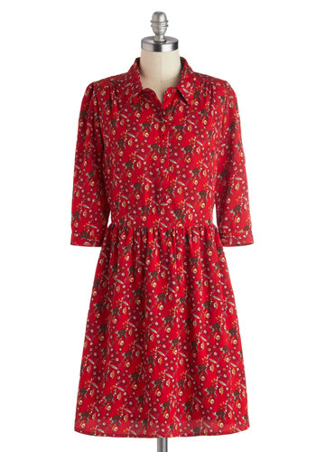 Ooh La Lemur Dress by Yumi - Shirt Dress, Mid-length, Woven, Red, Multi, Print with Animals, Buttons, Casual, 3/4 Sleeve, Better, Collared, Quirky, Fall